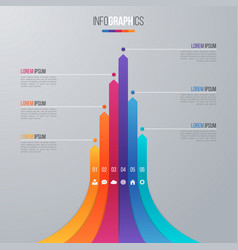 Bar chart infographic template with 6 options vector