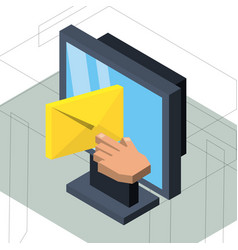 Isometric computer with e-mail message vector