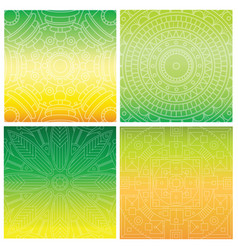 Set of cards with indian mandala on green gradient vector