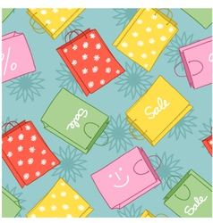 Seamless background with shopping colorful decorat vector