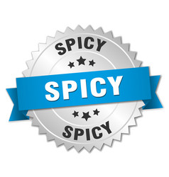 Spicy 3d silver badge with blue ribbon vector