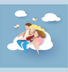 1 september card with boy and girl reading book vector image