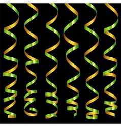 Holiday green serpentine ribbons set vector