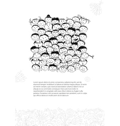 Card with crowd of peoples sketch for your design vector