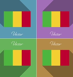 Flags mali set of colors flat design and long vector