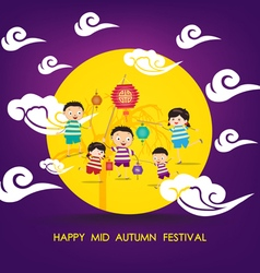 Mid autumn festival background with happy kids vector