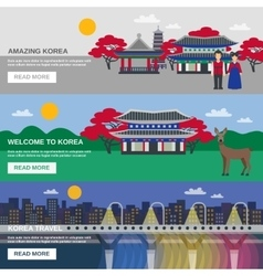 Korean culture 3 flat banners set vector
