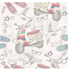 Seamless pattern with shoes retro scooter vector