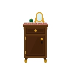 Antique wooden dresser and mirror vector