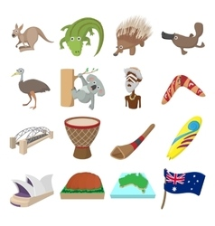 Australia icons cartoon vector