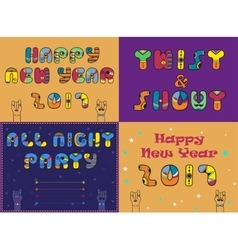 Cards with festive and party texts vector