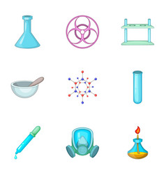 Chemistry lesson icons set cartoon style vector