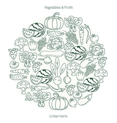 Collection of fruit and vegetables in the shape of vector image