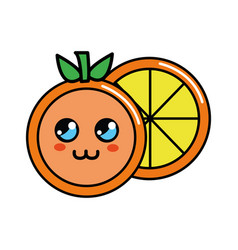 color kawaii cute orange icon vector image vector image