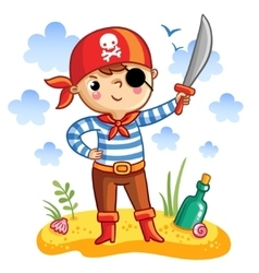Cute cartoon pirate vector image vector image