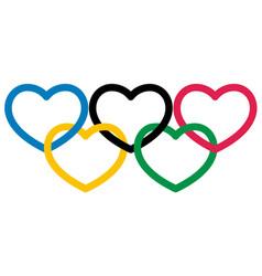 Five multicolored heart shape symbol olympiad vector