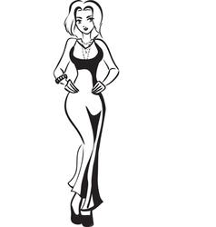 girl in long dress vector image
