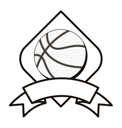 Gray scale basketball tournament emblem with ball vector