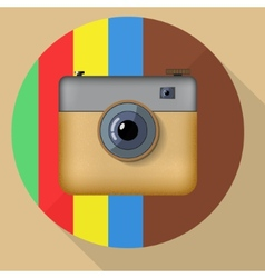 Hipster colorful realistic photo camera icon with vector image vector image