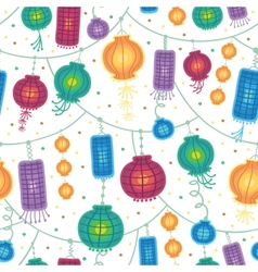 Holiday lanterns seamless pattern background vector image