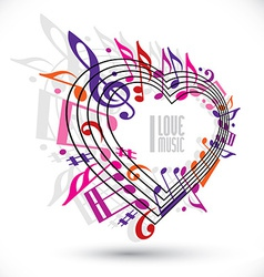 I love music template in red pink and violet vector image vector image