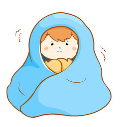 Ill boy shivering hard under blanket vector