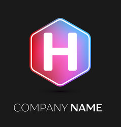 Letter h logo symbol in colorful hexagonal vector