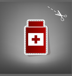 Medical container sign red icon with for vector