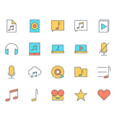 music audio thin line icons set pictograms vector image