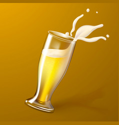 realistic 3d beer glass splashing foam vector image