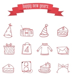 Red icon of new year vector