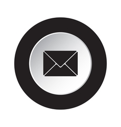 Round black white button - mailing envelope icon vector