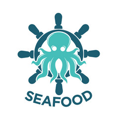 Seafood delivery emblem with octopus and steering vector