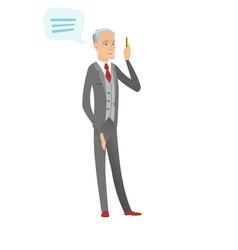 Senior caucasian businessman with speech bubble vector