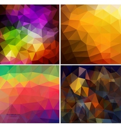 Set of four colorful abstract geometric background vector image vector image