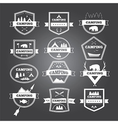 Set of vintage camping and outdoor activity logo vector