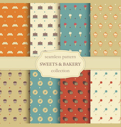 sweets and bakery seamless pattern vector image vector image