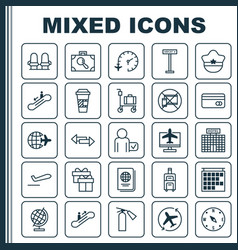 Travel icons set collection of armchair airplane vector