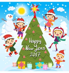 Happy new year 2017 winter fun cheerful kids vector