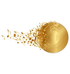 golden vinyl record with notes vector image