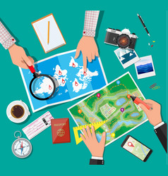 Table with paper map planning trip vector