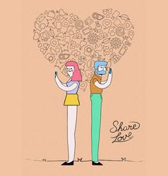 Internet love on social media concept design vector