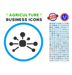 Connection relations rounded icon with set vector