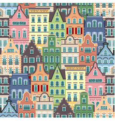 Seamless pattern of holland old houses facades vector