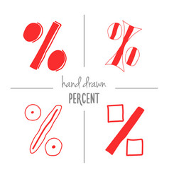 Set of red hand drawn percent signs vector