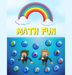 Worksheet design for math with underwater vector