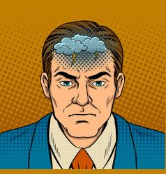 Guy with bad mood pop art vector