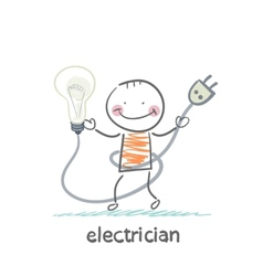 electrician holding a light bulb vector image