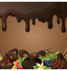Black chocolate sweets background vector image