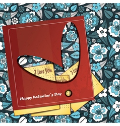 valentine day card with floral heart vector image